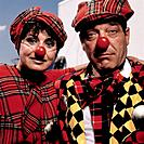 Two Clowns in Plaid Pattern