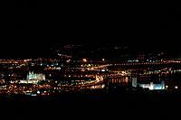 Panoramic view on a night on a city Palma de Mallorca