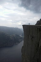 tourist on Preikestolen, Norway
