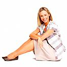 Full length of beautiful business woman smiling over white background