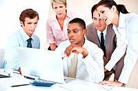 Group of businesspeople working together on laptop for futuer development on business