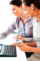 Two female colleagues working together and planning business schedule using notebook