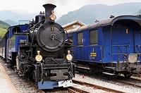 Furka cogwheel steam railway at Realp station  Switzerland, Western Europe, Grimsel-/Furka region, Uri  The steam engine HG 3/4 No  1 Furkahorn DFB 1 ...