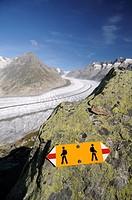 Switzerland, Valais, Western Europe, Jungfrau Region, Aletsch Glacier UNESCO world heritage site  Hiking trail sign between Bettmerhorn and Märjelense...