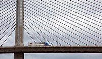 Toledo, Ohio - A truck crosses the cable-stayed bridge that carries Interstate Highway 280 over the Maumee River