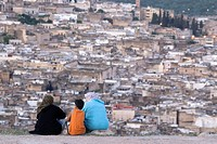 the Medina of Fes viewed from the Marinid Tombs, Fes, Morocco, North Africa