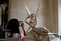 tourists at the louvre museum in paris france