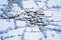 snowy village, El Pino, Asturias, Spain, Europe
