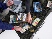 Painting with watercolors out in nature, Iceland