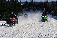 Snowmobiles in Motion, Saint_Sylvestre,Chaudiere_Appalaches region, Quebec