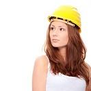 Engineer woman in yellow helmet
