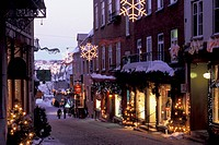 Rue Sous_le_Fort at Dusk in Winter with Christmas Decorations, Lower Town, Old Quebec City, Quebec