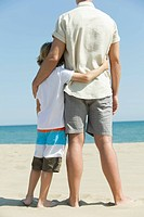 Father and young son standing together at the beach, rear view