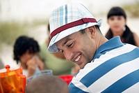 Smiling Man at Picnic