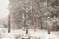 Snowy Totem Poles, Stanley Park, Vancouver, British Columbia