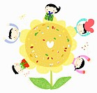 The image of kids with sunflower