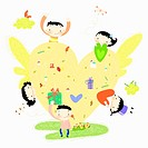 The image of kids with yellow winged heart