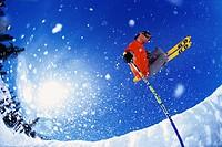 Skier Making Jump on Half Pipe
