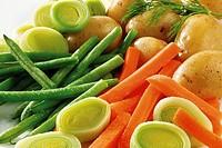 Fresh vegetables - green beans, carrots, leeks and potatoes
