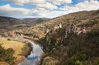 Crumbling castle on rural hillside