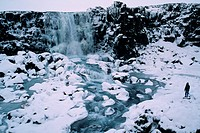 Water flows over a cliff in an Icelandic winter landscape. This is the region of the Mid_Atlantic Rift, where the earth´s surface is moving apart at t...