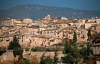 Houses of the hill town of Spello in Umbria, Italy.