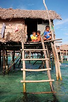 Scene of Bajao stilt village, Omada island, Semporna, Sabah, malaysia, borneo.