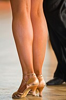 Close up of a female dancer´s legs at a dancing competition, Germany, Europe