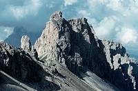 The Dolomite limestone mountain range was formed by the glacial erosion of what was once a Triassic coral reef.