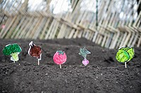 Paper vegetables planted by first grade students at the newly opened Urban Farm at the Battery in lower Manhattan in New York  The Urban Farm occupies...