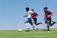 Soccer Players Kicking Ball on Field