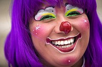A female clown smiles during the 16th International Clown Convention: The Laughter Fair organized by the Latino Clown Brotherhood, in Mexico City, Oct...