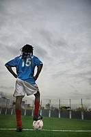 Confident Soccer Player on Field