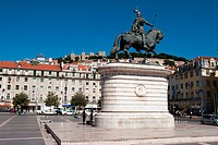 Equestre Statue to king John I in Figueira Square, Lisbon, Portugal