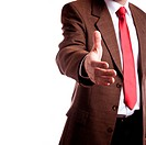 isolated on white background, focus point on hand of businessman selective