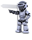 3D render of a robot at a signpost