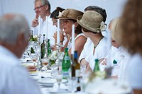 Guests enjoying themselves at a banquet table