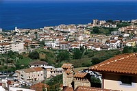 A view of a residential area of Belvedere Marittimo and the Tyrrhenian Sea in Calabria.