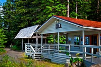The Visitor Information Station VIS at the head of the public use dock in Bartlett Cove, Gustavus, Glacier Bay National Park & Preserve, Southeast Ala...