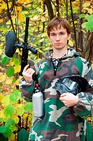 paintball player looks in the face