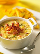 Corn chowder with bacon and croutons