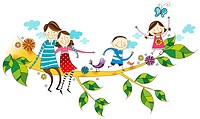 Portrait of happy family sitting on branch of tree