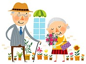 Elderly man showing love for elderly wife