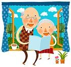 Elderly couple sitting on window wall reading book