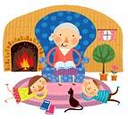 Grandmother saying story to grandchildren