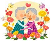 Elderly couple expressing love