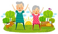 Elderly couple doing laughing exercise