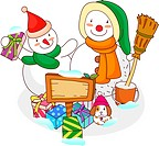 Snowman and a snowwoman with Christmas presents