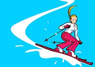 Low angle view of a woman skiing