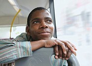 Man daydreaming, on bus, Cape Town, Western Cape Province, South Africa